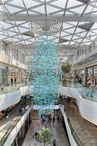 Istanbul, Turkey - April 15, 2017: Interior of Aqua Florya Shopping and Life Center suited in Florya neighborhood, Bakirkoy with people visiting the place at the morning
