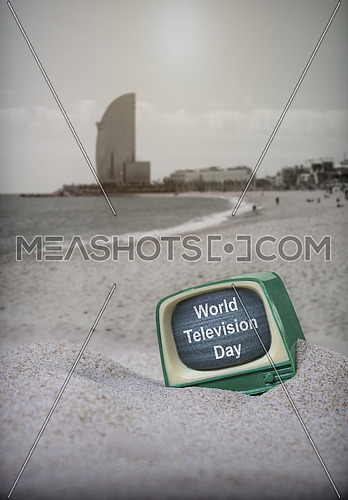 Vintage TV on the beach, World Television Day, ironic concept
