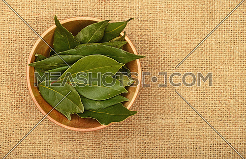 Wooden bowl of green bay laurel leaves on brown burlap jute canvas background