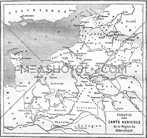 Agricultural map of the Northwest Region, vintage engraved illustration. Magasin Pittoresque 1861.