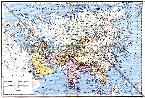 The map of Asia with names of cities and countries on map.