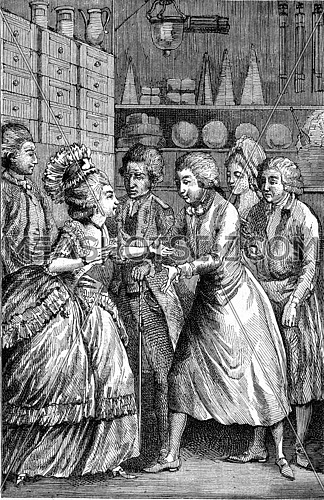 Interior groceries in the eighteenth century, vintage engraved illustration. Magasin Pittoresque (1882).