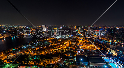 Great cairo view from Cairo tower showing opera house at night