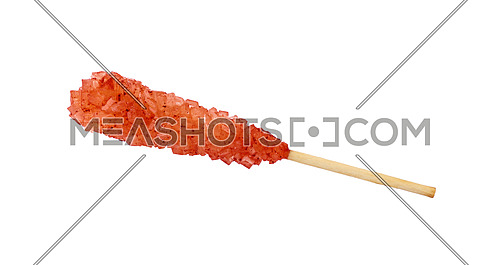 Close up one wooden stick with brown red sugar crystals isolated on white background, elevated top view, directly above
