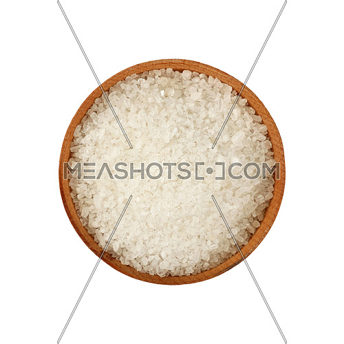 Close up one wooden bowl full of white marine rock salt isolated on white background, elevated top view, directly above
