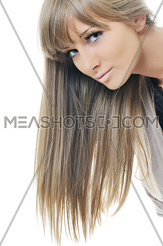 young beautiful woman fashion headshoot isolated on white