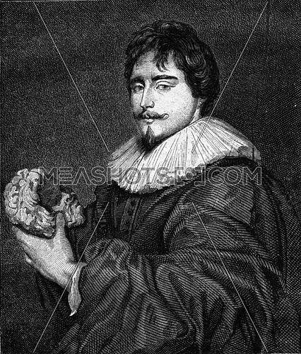 Francois Duquesnoy, Flemish sculptor of the sixteenth century, vintage engraved illustration. Magasin Pittoresque 1869.