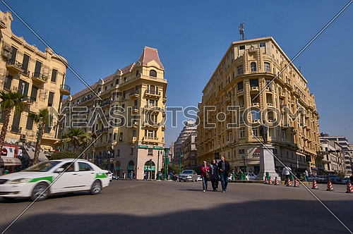 Long Shot for Traffic at Talat Harb Street at Cairo at Day