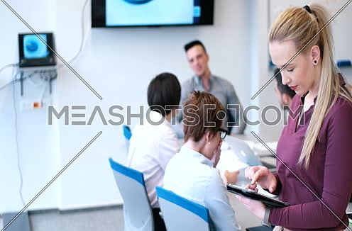 Pretty Blond  Businesswoman Using Tablet In Office Building during conference