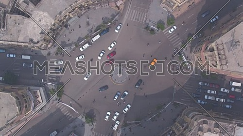 Fly Over Shot Drone for Talat Harb Square in  Cairo Downtown in 22 of March 2018 at Day