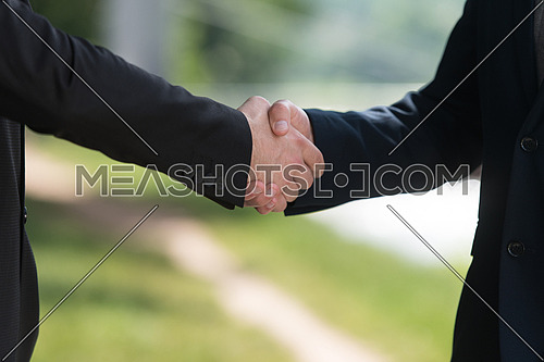 Close-up Of Businessmen Shaking Hands While Standing Outdoors In Park