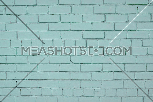 Blue teal painted pale old brick wall texture background