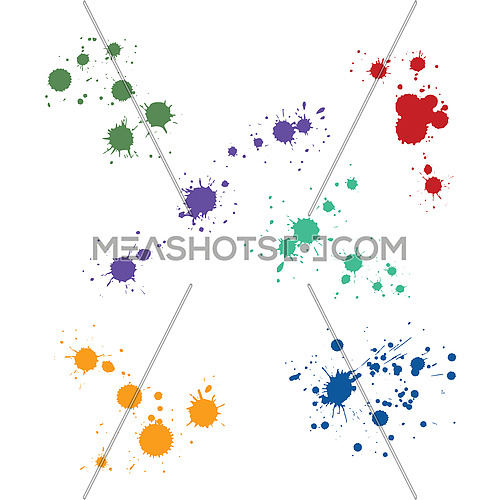 Close up many colorful multicolor paint drop splat stains isolated on white background