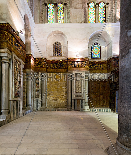 Interior view of side wall at the mausoleum of Sultan Qalawun, part of Sultan Qalawun Complex built in 1285 AD, suited in Al Moez Street, Cairo, Egypt