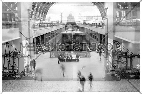 Double Exposure image of interior mall and exterior harbor
