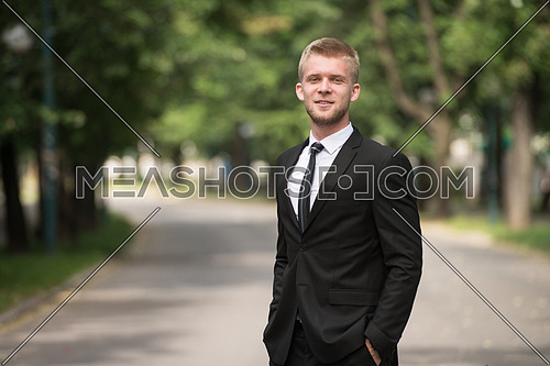Portrait Of Confident Businessman While Standing Outdoors In Park