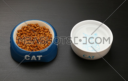 Brown dry cat food portion in blue ceramic bowl with cat word and water in white on black floor, close up, high angle view, personal perspective