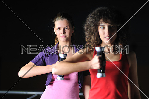 two girls working out with dumbbell in fitness club