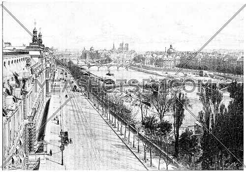 Panorama taken from the pavilion flora, vintage engraved illustration. Paris - Auguste VITU – 1890.