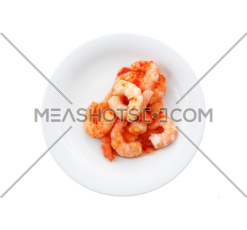 Close up portion of shrimp salad with sweet chili sauce on white plate isolated on white background, elevated top view, directly above