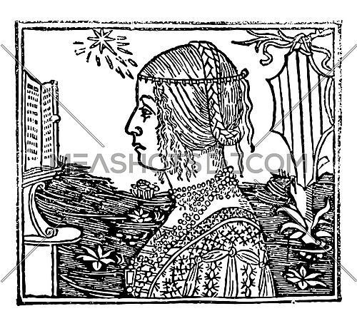 Woman with Braids in this picture, vintage line drawing or engraving illustration.