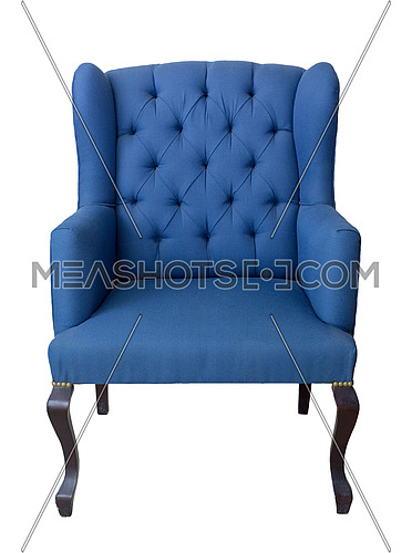 Vintage Furniture - Front shot of French blue wingback armchair with dark brown wooden legs isolated on white background including clipping path