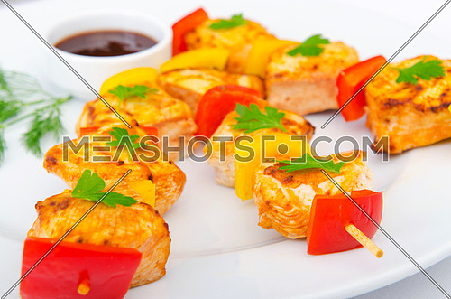 Chicken kebab on skewers