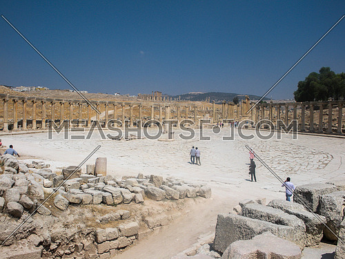 The main yard of the roman historical stage of Jarash , Jordan