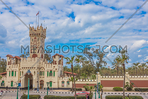 Long shot for Montazah Palace Gate at Alexandria at Day