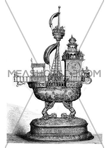 Automatic Clock of the sixteenth century, vintage engraved illustration. Magasin Pittoresque 1882.