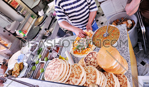 organic healthy food at street market at tunis africa