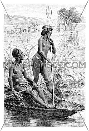 Opoudo and Capeo on a canoe, in Angola, Southern Africa, drawing by maillart based on the English edition, vintage illustration. Le Tour du Monde, Travel Journal, 1881