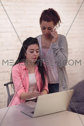 Young middle eastern informal business women working together in modern office, using laptop