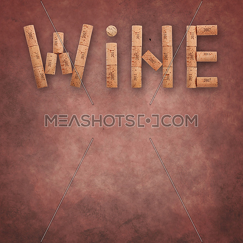 Word WINE shaped by natural wooden wine bottle corks of different vintage years over abstract grunge brown pink background