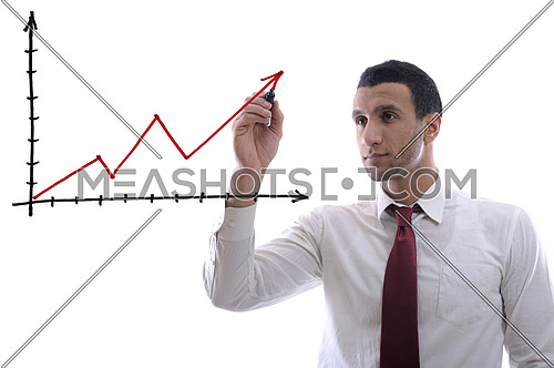 business man draw success line chart   isolated on white background  in studio