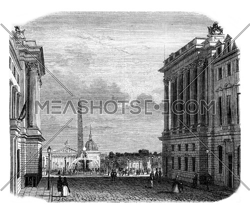 View of the Place de la Concorde, vintage engraved illustration. Magasin Pittoresque 1845.