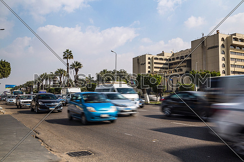 Long Shot for traffic at Salah Salim Street showing Le Meridien Hotel in background at Daytime