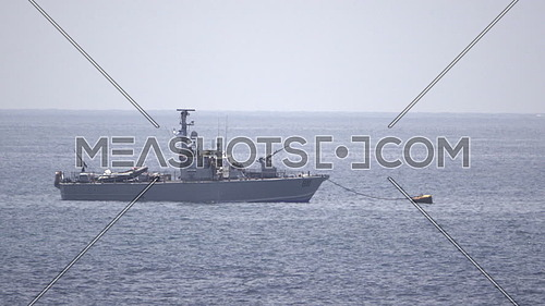 View of Palestinei Naval vessel anchored in Mediterranean