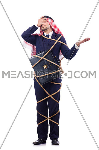 Arab man tied up with rope on white