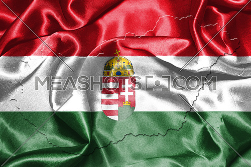 Hungarian National Flag And Map Waving in the Wind 3D illustration