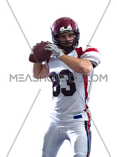 one quarterback american football player throwing ball isolated on white background