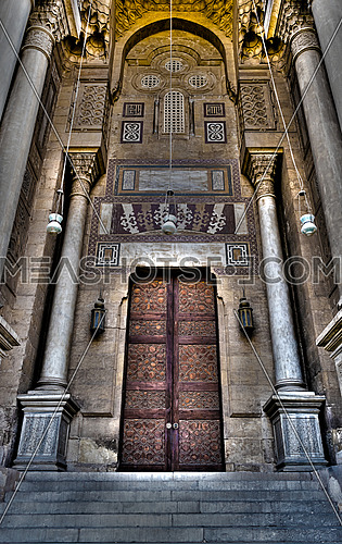 Ornamented wooden door of an old mosque in old Cairo, Egypt, named Royal Mosque dates from around 1361
