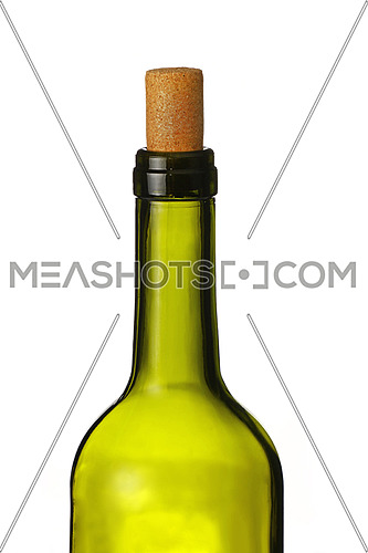 Close up one open green glass bottle of wine with cork isolated on white background, low angle side view