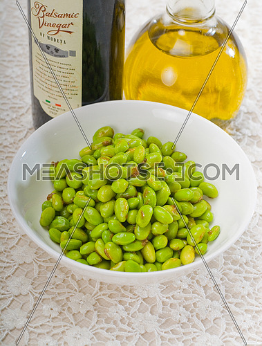 steamed fresh green beans with extra virgin olive oil and balsamic vinegar