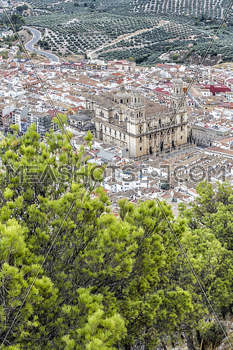 Aerial view landmark of renaissance Cathedral of Asuncion, from XVI century, public monument in Jaen city, Andalusia, Spain