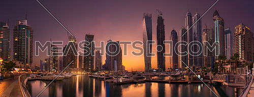 Dubai Marina Towers in a beautiful Panoramic sunset