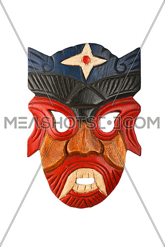 Asian traditional wooden carved mask with face of human or demon painted with vivid red and blue isolated on white background