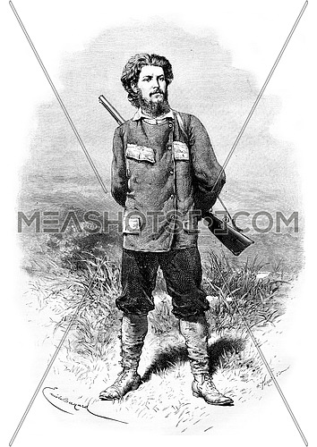 Major Alexandre de Serpa Pinto, drawing by Bayard based on a photo, vintage engraved illustration. Le Tour du Monde, Travel Journal, 1881