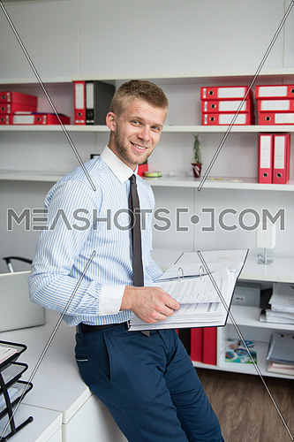 Happy Young Business Man Work In Modern Office On Papers