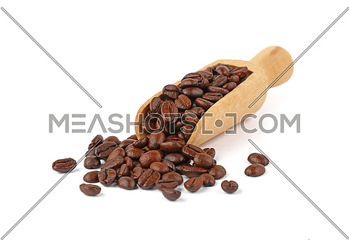 Close up wooden scoop full of roasted Arabica coffee beans isolated on white background, high angle view